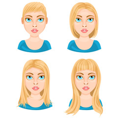 Basic length of women straight hair on white background / There are four basic lengths of women hair that demonstrated on Caucasian blonde