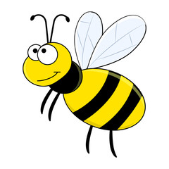 Cute cartoon vector bee isolated on white background. Cartoon insects.