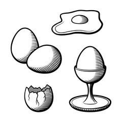 Stylized hand drawn illustration of eggs. Eggshell, eggcup, broken egg and yolk. Black and white vector image set