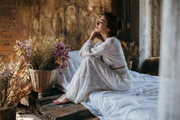 Beautiful Woman in a Rustic Room