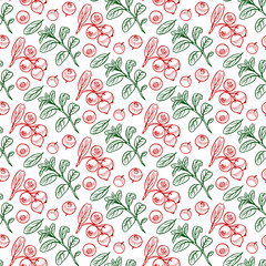Pretty sketched seamless pattern made of hand drawn cranberries.
