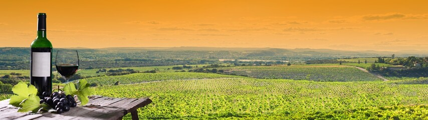 panoramic view of beautiful vineyard landscape at sunset with a bottle and a glass of wine in foreground
