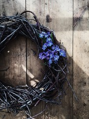 Twiggy wreath and Forget-Me-Nots