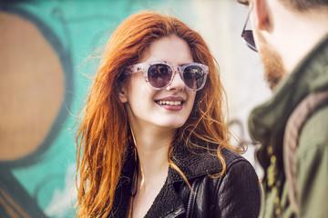Ginger Woman Walking With Her Boyfriend