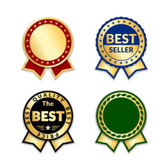 Ribbons award best price label set. Gold ribbon award icon isolated white background. Best quality golden label for badge, medal, best choice, price, certificate guarantee product Vector illustration