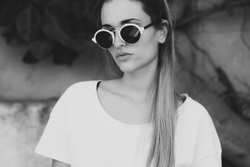 Portrait of woman wearing sunglasses