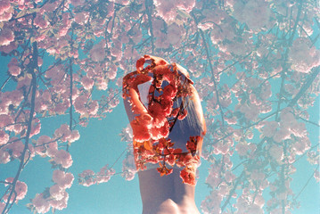 Beautiful girl posing with arms on head against blue sky surrounded by pink flowers