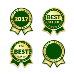 Green ribbon awards best seller label set. Gold ribbon award icons isolated white background. Best quality design for badge, medal, best price, certificate guarantee product Vector illustration