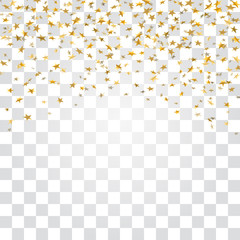 Gold stars confetti celebration isolated on white transparent background. Golden stars abstract decoration. Glitter confetti Christmas card, New Year celebration. Shiny rain Vector illustration