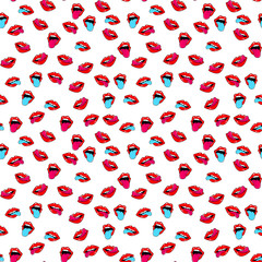 Female lips. Mouth with a kiss, smile, tongue, teeth and kiss me lettering on background. Vector comic seamless pattern in pop art retro style. Abstract seamless pattern for girls, boys, clothes.