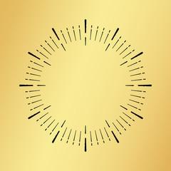 Sun burst vintage clock watch on golden background isolated