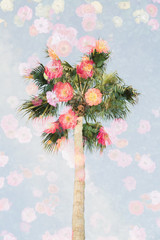 Palm tree fading into flowers