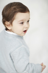 Portrait of a toddler with white background