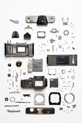 Neatly Organized Pieces of Analog Camera