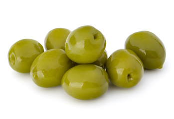 Wall Mural - Green olives fruits isolated on white background cutout