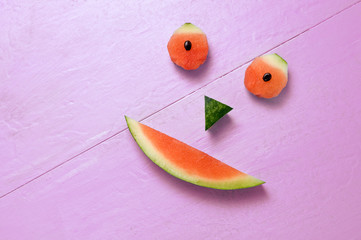 Smiling Watermelon on Magenta Background