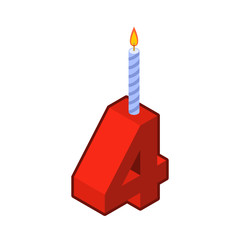 4 number and Candles for birthday. four figure for holiday cartoon style. Vector illustration