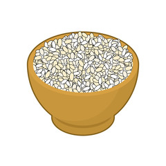 Round rice in wooden bowl isolated. Groats in wood dish. Grain on white background. Vector illustration
