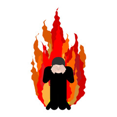 Sinner on fire. OMG. Cover face with hands. Despair and suffering. Hell fire. Vector illustration