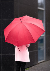 Girl in Pink with red Umbrella