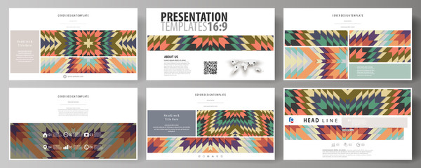 Business templates in HD format for presentation slides. Abstract vector layouts in flat design. Tribal pattern, geometrical ornament in ethno syle, ethnic hipster backdrop, vintage fashion background