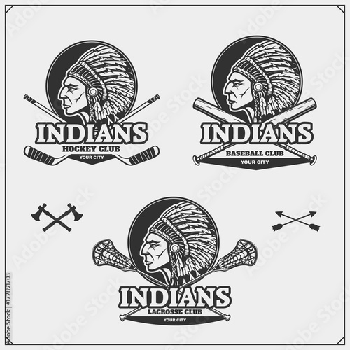 lacrosse baseball and hockey logos and labels sport club emblems rh us fotolia com Spokane Chiefs Hockey Club Syracuse Bulldogs Hockey Logo