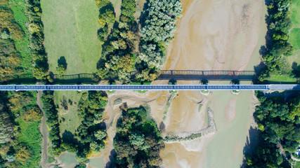 Photo sur Plexiglas Olive Photographie aérienne du pont de Thouaré sur Loire