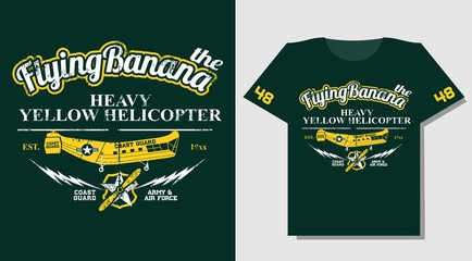 T-shirt Design wears print with yellow rescue helicopter