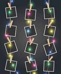 Photo frames with colorful Christmas fairy lights decoration Vector