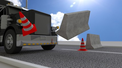 Black truck hits concrete roadblock on a sunny day pushing away the barrier
