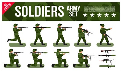 Military Army Soldiers Set in Digital Camouflage. Modern Military Collection Vector Flat Illustration