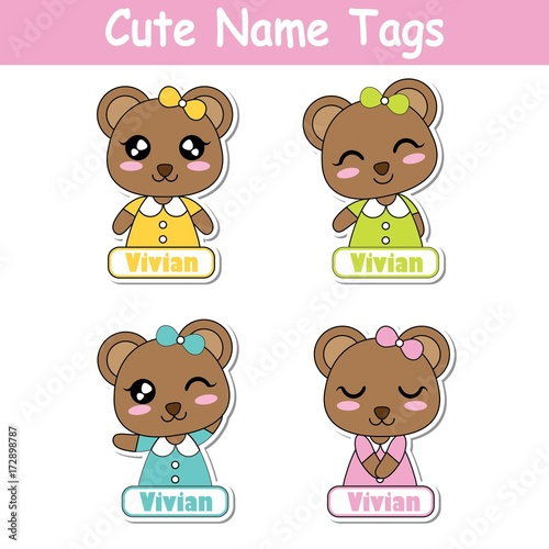 Vector cartoon illustration with colorful cute bear girls
