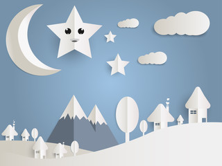 Landscape city of mushroom houses with moon, sky  with cloud Stars and mountains, paper art style.