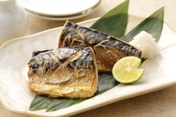 Wall Murals Ready meals 鯖の塩焼き Grilled mackerel with salt