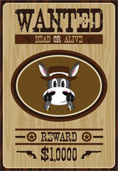 Cute Cartoon Wild West Donkey Cowboy Wanted Poster
