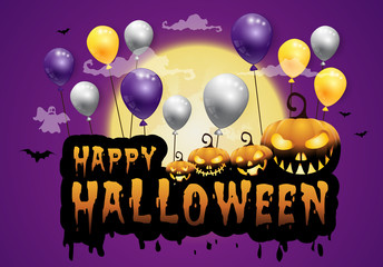 haunted house and full moon with pumpkins and ghost,party happy Halloween night background.Vector illustration.
