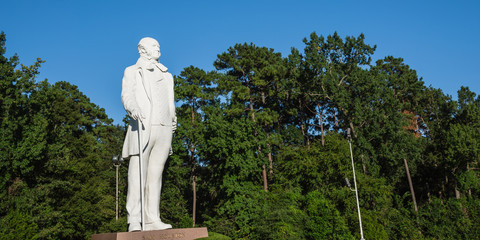 Giant statue of Sam Houston located near highway I-45 in Texas, US clear blue sky. American politician and soldier, best known for role in bringing Texas into the United States as a constituent state