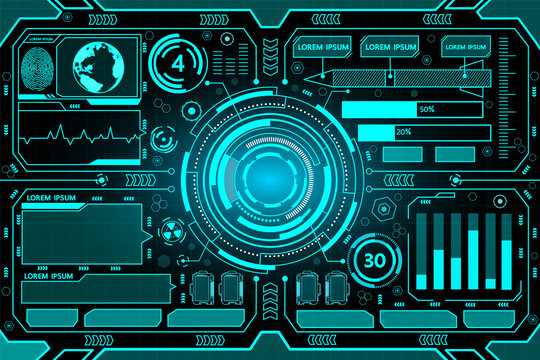 Futuristic interface hud technology background vector design.