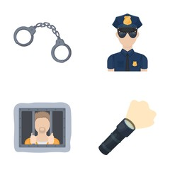 Handcuffs, policeman, prisoner, flashlight.Police set collection icons in cartoon style vector symbol stock illustration web.