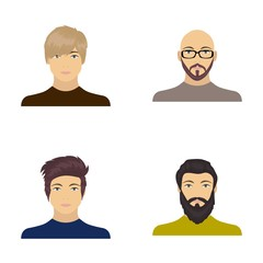 The face of a Bald man with glasses and a beard, a bearded man, the appearance of a guy with a hairdo. Face and appearance set collection icons in cartoon style vector symbol stock illustration web.