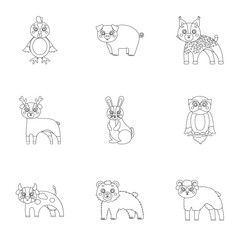 Farm, production, zoo and other web icon in outline style. Animals, nature, forest