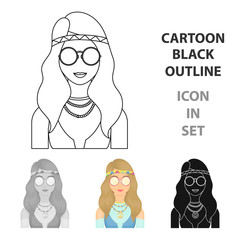A hippie girl with glasses with beads.Hippy single icon in cartoon style vector symbol stock illustration web.