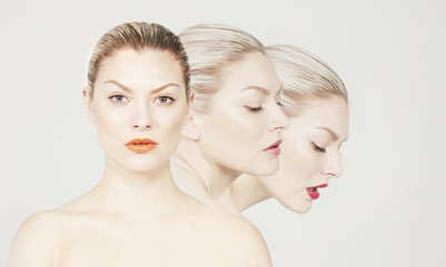 Multiple image of a young woman.