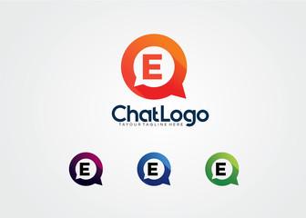 Letter E Chat Bulb Logo Template Design Vector, Emblem, Design Concept, Creative Symbol, Icon