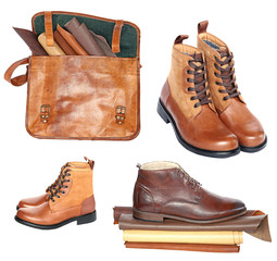 leather brown briefcase and men's shoes with pieces of genuine leather in rolls isolated on white background. set of leather accessories isolated on white background. Collage