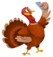 Turkey making selfie. Thanksgiving Day. Cartoon styled vector illustration. Elements is grouped. No transparent objects. Isolated on white.