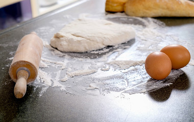 Dough preparation recipe bread, pizza or pie ingredients pastry or bakery cooking. Text space