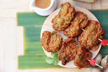 Fried fish cake with sauce is delicious
