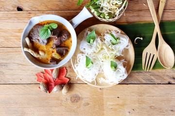 Chicken curry coconut milk with rice noodle