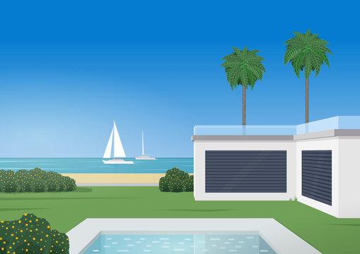 Luxury villa with swimming pool. Regatta. Retro poster style. Vector illustration.